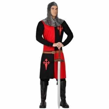 Ridder verkleed kostuum zwart/rood heren