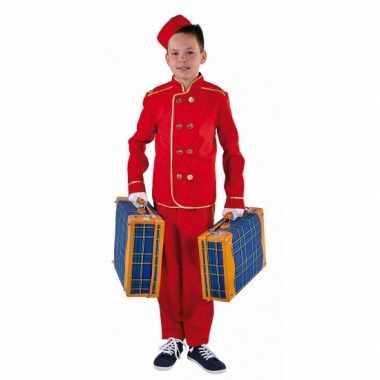 Rood hotelbediende kostuum kinderen