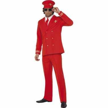 Rood piloten kostuum heren