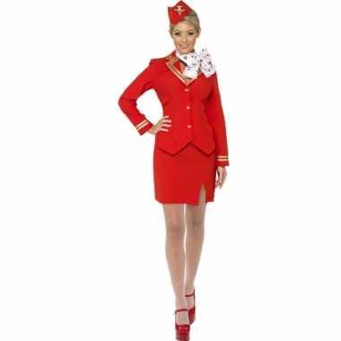 Rood stewardess kostuum hoedje