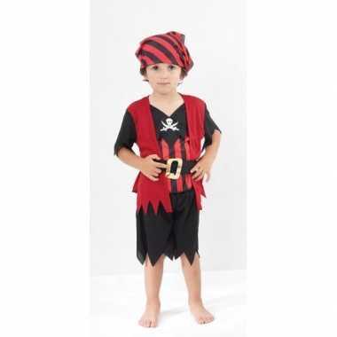 Rood zwart piraten kostuum kinderen