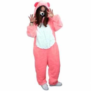 Roze beren kostuum volwassenen