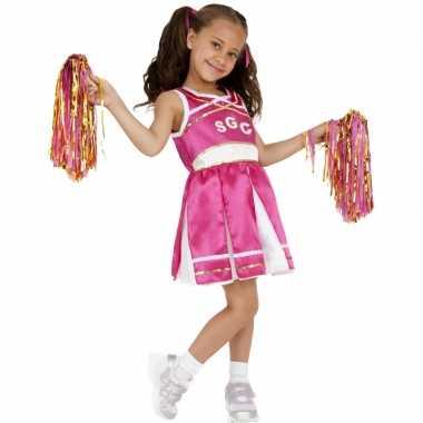 Roze cheerleader carnavalskostuum