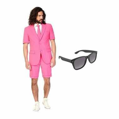 Roze heren zomer kostuum maat 46 (s) gratis zonnebril