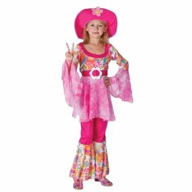 Roze hippie kostuum kinderen