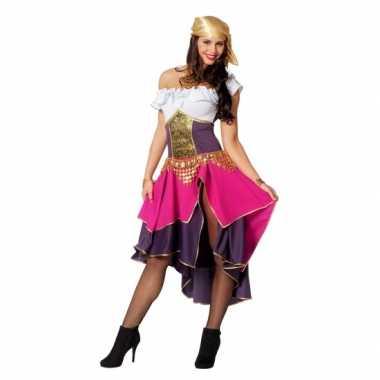 Roze zigeunerin kostuum dames