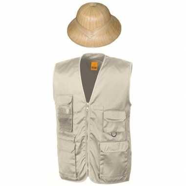 Safari/jungle verkleedkostuum vest hoed beige volwassenen