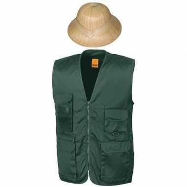 Safari/jungle verkleedkostuum vest hoed groen volwassenen