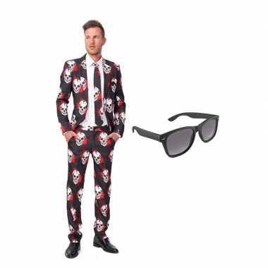 Schedel heren kostuum maat 52 (xl) gratis zonnebril
