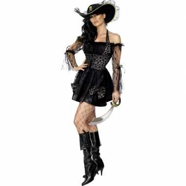 Sexy kostuum piraat zwart goud