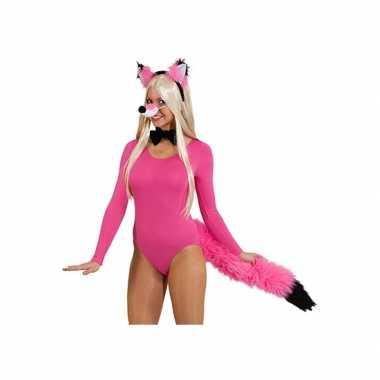 Sexy vossen verkleed kostuum roze