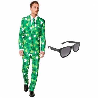 Sint patricks day heren kostuum maat 50 (l) gratis zonnebril