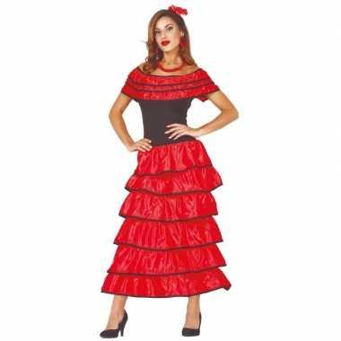 Spaanse danseres flamencojurk rood verkleed kostuum dames