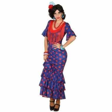 Spaanse flamencodanseres jurk blauw verkleed kostuum dames