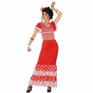 Spaanse flamencodanseres jurk rood verkleed kostuum dames