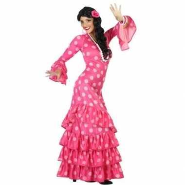 Spaanse flamencodanseres jurk roze verkleed kostuum dames