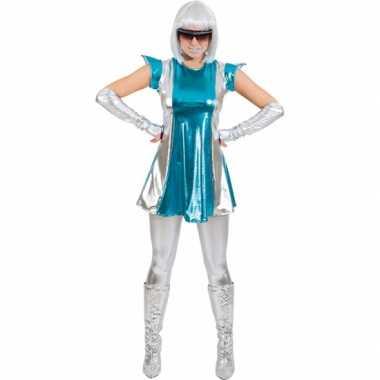 Space kostuum blauw/zilver dames