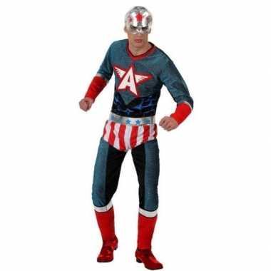 Superheld amerikaanse kapitein verkleed pak/kostuum heren