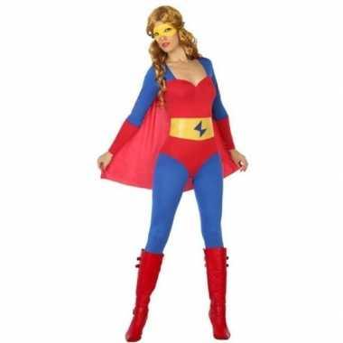 Superheld verkleed pak/kostuum blauw/rood dames