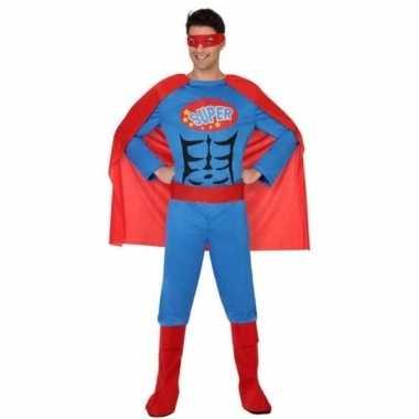 Superheld verkleed pak/kostuum blauw/rood heren