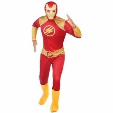 Superheld verkleed pak/kostuum rood/goud heren