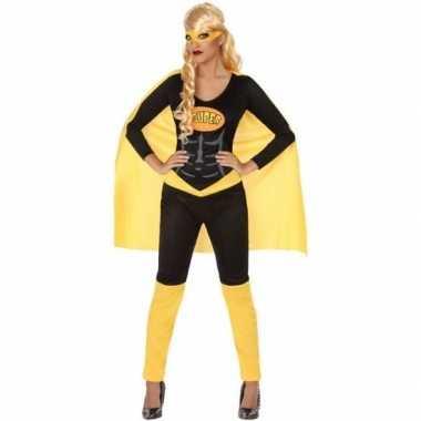 Superheld verkleed pak/kostuum zwart/geel dames