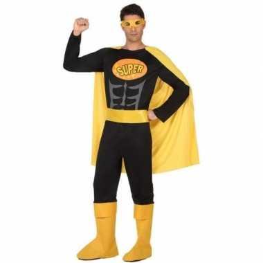 Superheld verkleed pak/kostuum zwart/geel heren