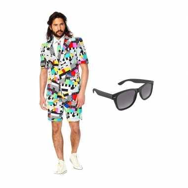 Testbeeld heren zomer kostuum maat 50 (l) gratis zonnebril