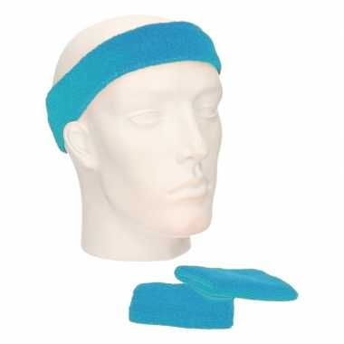 Toppers zweetbandjes sportkostuum turquoise