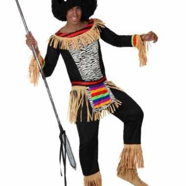 Zulu kostuum heren zebra