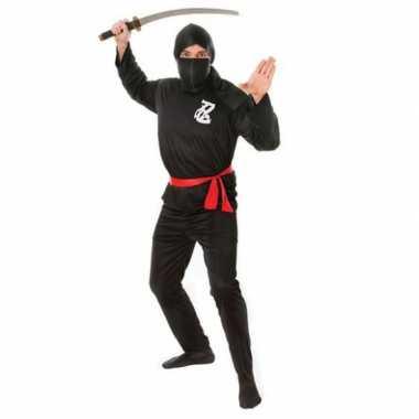 Zwart ninja kostuum rode riem