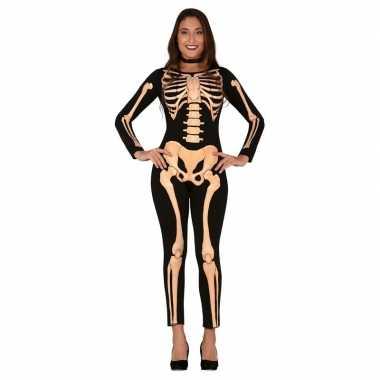Zwart/oranje skelet verkleed kostuum dames