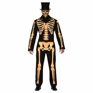 Zwart/oranje skelet verkleed kostuum heren
