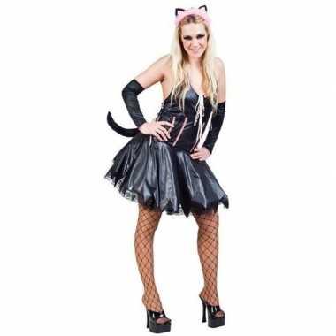 Zwart roze verkleedkostuum kat/poes dames