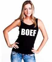 Boef tekst singlet-shirt tanktop zwart dames