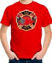 Brandweer logo t-shirt kostuum rood kinderen