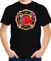 Brandweer logo t shirt kostuum zwart kinderen