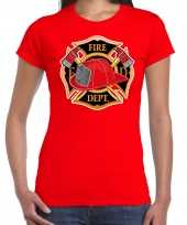 Brandweer logo verkleed t shirt kostuum rood dames