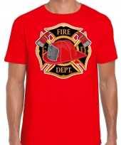 Brandweer logo verkleed t-shirt kostuum rood heren
