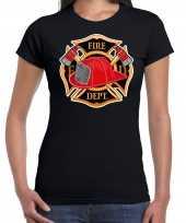 Brandweer logo verkleed t shirt kostuum zwart dames