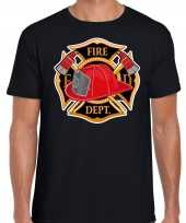 Brandweer logo verkleed t shirt kostuum zwart heren