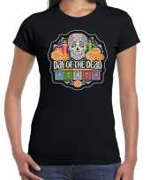 Day of the dead dag doden halloween verkleed t shirt kostuum zwart dames