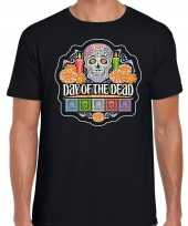 Day of the dead dag doden halloween verkleed t shirt kostuum zwart heren