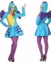 Dierenpak blauwe draak verkleed kostuum jurk dames