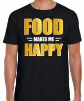 Food makes me happy t shirt kostuum zwart heren