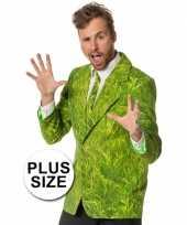 Grote maten heren kostuum gras colbert stropdas
