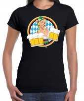 Oktoberfest bierfeest drank fun t shirt kostuum zwart beierse kleuren dames